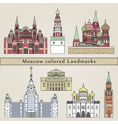 Moscow colored landmarks vector