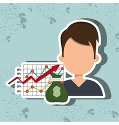 Person with economy statistics isolated icon vector