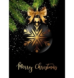 Black christmas ball with ribbon and a bow vector