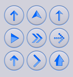 blue arrow on gray buttons 3d icons set vector image