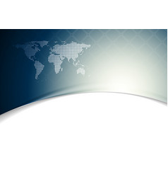 Blue wavy tech background with world map vector