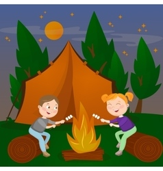 Children summer camp boy and girl vector
