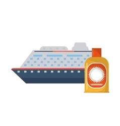 Cruise ship and sun block icon vector