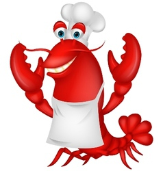 Cute lobster chef cartoon vector image vector image
