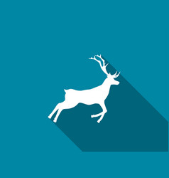 deer icon with long shadow vector image vector image