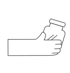 Dotted shape hand with crystal jar to save things vector