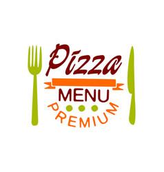 Flat premium pizza house menu logo creative vector