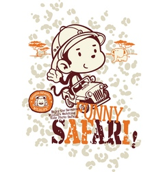 Funny safari monkey vector