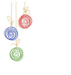 Hand drawing sketch christmas tree balls vector