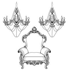Imperial baroque chandelier decoration accesories vector