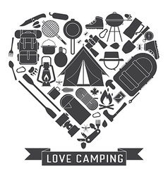 Love camping outline concept heart vector