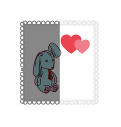 love card with stuffed rabbit vector image