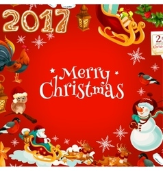 Merry Christmas poster of holiday symbols vector image
