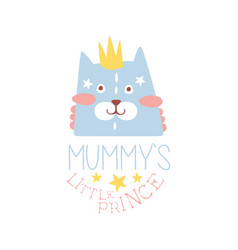 Mummys little prince label colorful hand drawn vector