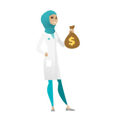 Muslim doctor holding a money bag vector