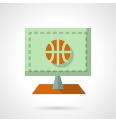 Online basketball flat color design icon vector image vector image