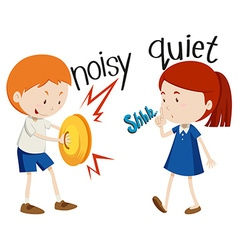 Opposite adjectives noisy and quiet vector