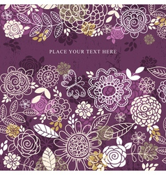 purple background of hand draw flowers vector image vector image