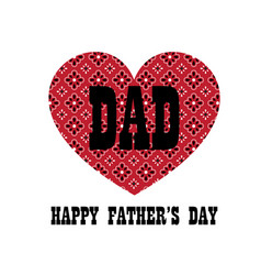 Red bandana heart fathers day vector