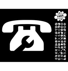 Repair service phone icon with tools bonus vector