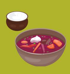 Russian national soup borscht cuisine and culture vector