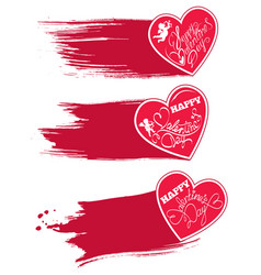 Set of 3 red hearts with watercolor style strokes vector