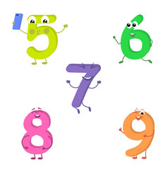 Set of funny characters from numbers 2 vector