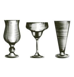 Set of glasses goblets in engraved styleiisolated vector
