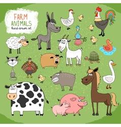 Set of hand-drawn farm animals vector