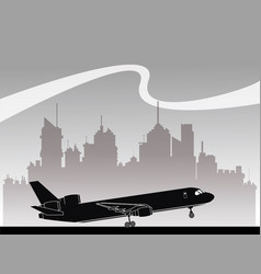 silhouette airplane transportation urban vector image