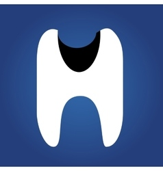 Tooth dent flat icon isolated on a blue vector