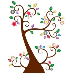 Tree with branches with colorfull leaves vector image