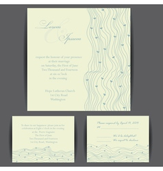 Wedding invitation card with floral elements vector