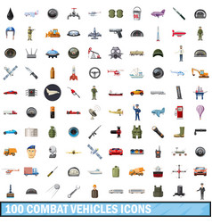 100 combat vehicles icons set cartoon style vector