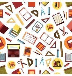 Seamless pattern of school and office supplies vector