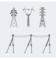 High voltage electric line pylon Icon set suitable vector image