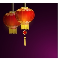 Red chinese traditional paper lanterns vector