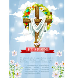 Easter crucifix cross and christ shroud vector
