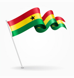 ghana pin wavy flag vector image