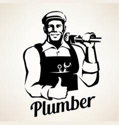 Plumber service portrait retro emblem stylized vector
