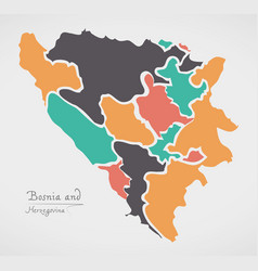 Bosnia and herzegovina map with states vector
