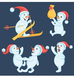 Snowmen in different actions cartoon set vector