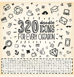 320 doodle icons universal set vector