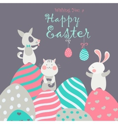 Easter animals with easter eggs vector image