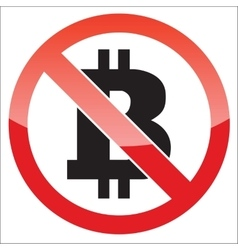 Bitcoin forbidden icon vector