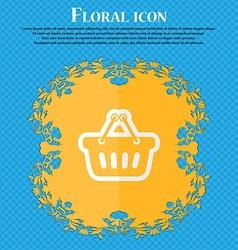 Shopping cart floral flat design on a blue vector