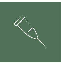 Crutch icon drawn in chalk vector