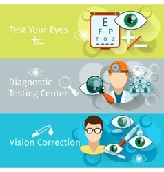 Oculist and optometry horizontal banners vector