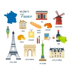 French Landmarks Eiffel tower Notre Dame in vector image