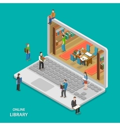 Online library flat isometric concept vector